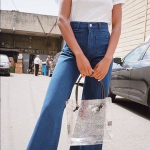 Forever21 high rise wide leg blue jean
